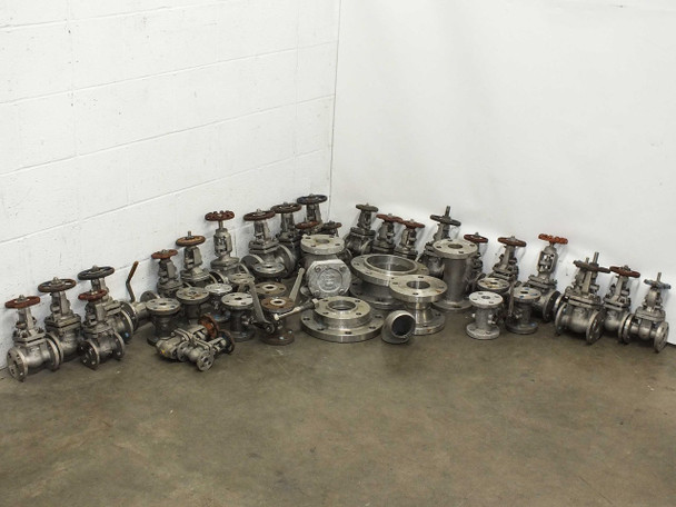 Powell LOT OF 45 Stainless Steel Pressure/Flow Gates Valves and Fittings - AS IS