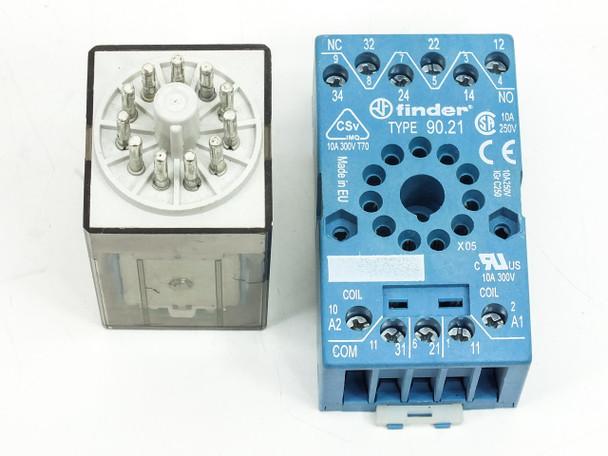 Finder 60.13 10A - 250V Relay with Finder Type 90.21 Socket