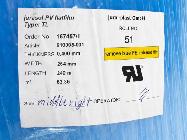 Jura-Plast GmbH Type TL Solar Encapsulation Sheet Jurasol PV Flatfilm 264mmx240m