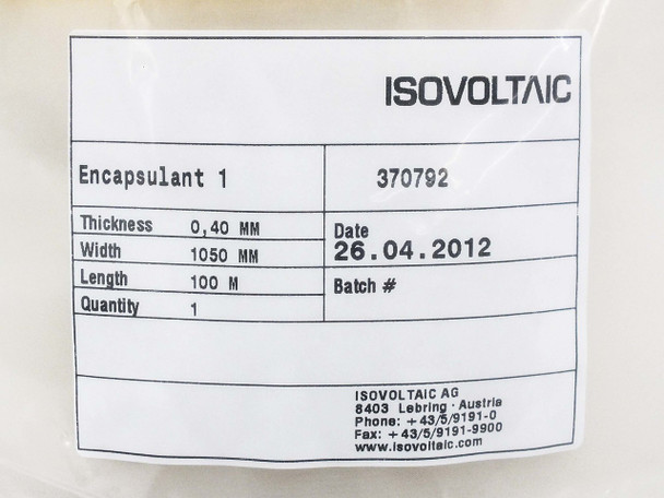 Isovoltaic 100M Long 0.40MM Thick 1.05M Wide Solar Panel Encapsulant Roll 370792