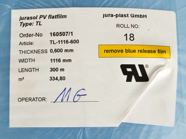 Jura-Plast GmbH Type TLSolar Cell Encapsulation Film 1116mm by 300M by 0.6mm Jur