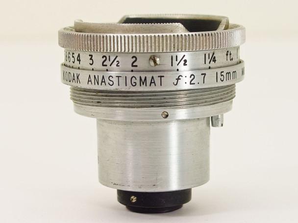 Kodak F2.7 15mm Anastigmat S-Mount Movie Camera Lens - AS IS
