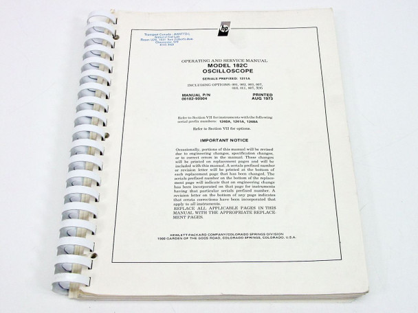 HP 182C  Operating & Service Manual
