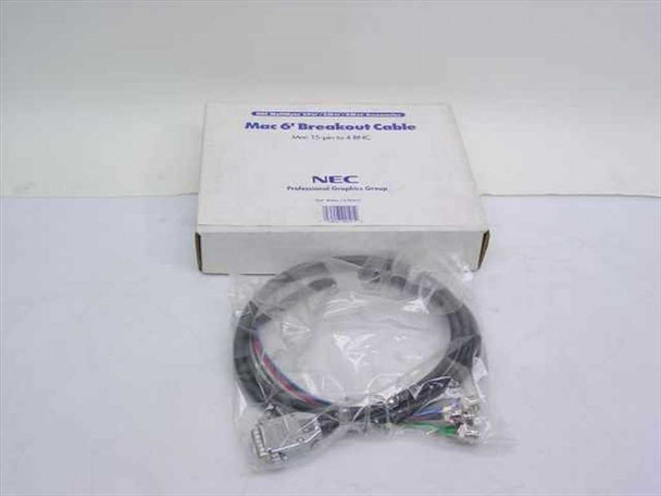 NEC MAC15/4BNC 6-Foot Mac Video Cable Breakout - 15-pin to 4 BNC - New Open Box