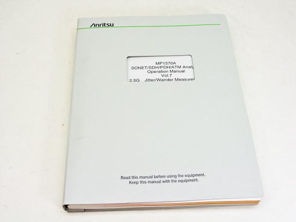 Anritsu Operation Manual vol. 7 1ere edition MP1570A Sonet/SDH/PDH/ATM Analyzer