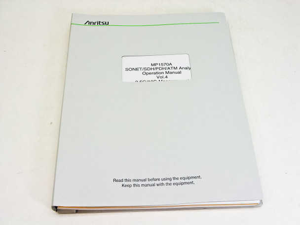 Anritsu Opeartion Manual vol. 4 2e edition MP1570A Sonet/SDH/PDH/ATM Analyzer