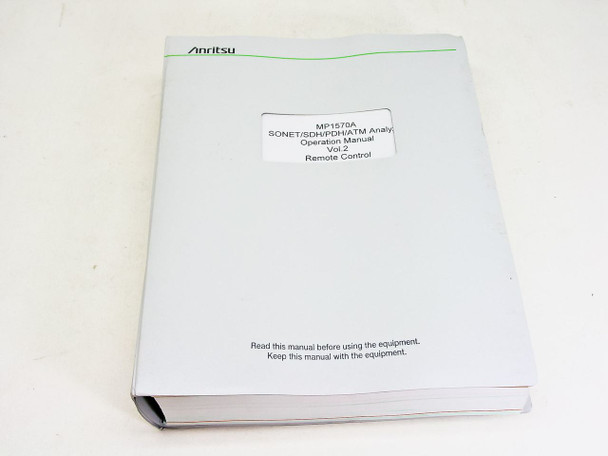 Anritsu Operation Manual vol. 2 1ere edition MP1570A Sonet/SDH/PDH/ATM Analyzer