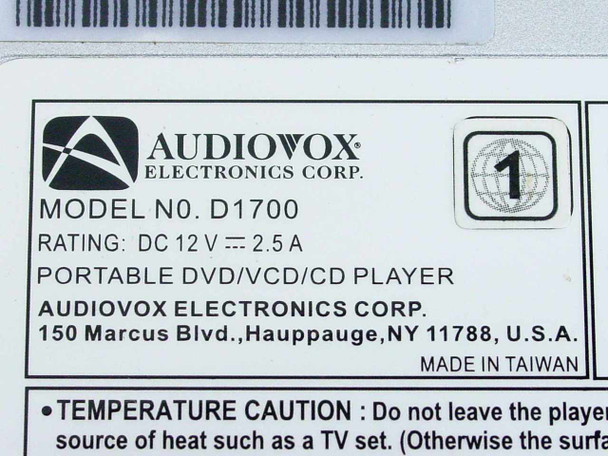 Audiovox Portable DVD/VCD/CD Player D1700