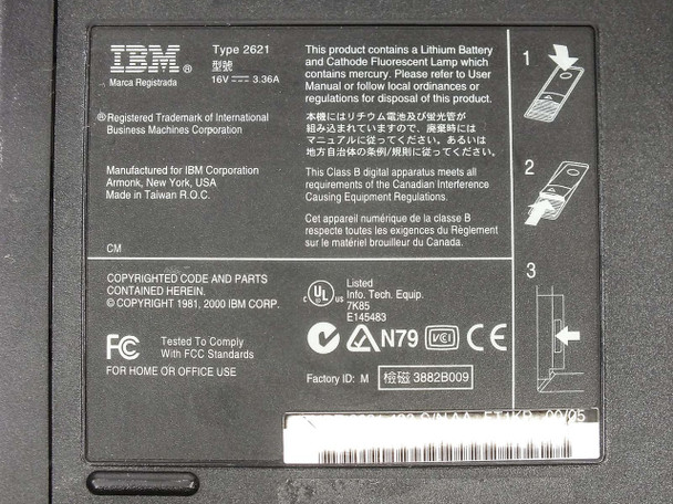 IBM 2621-483 ThinkPad Type I Series Notebook Computer - Parts Only