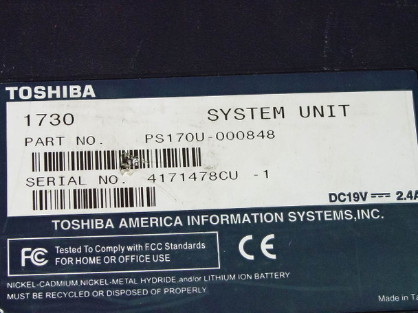 Toshiba 1730 Satellite Laptop - AS IS For Parts PS170U-000848
