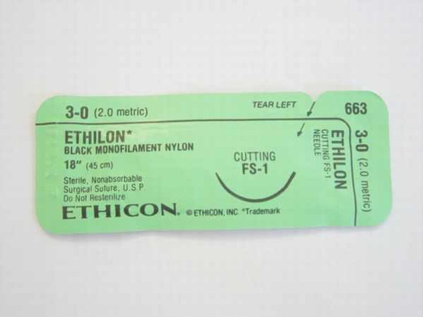 "Ethicon 663 Suture Non-Absorbable 3-0 Ethilon Black 1x18"" FS-1"