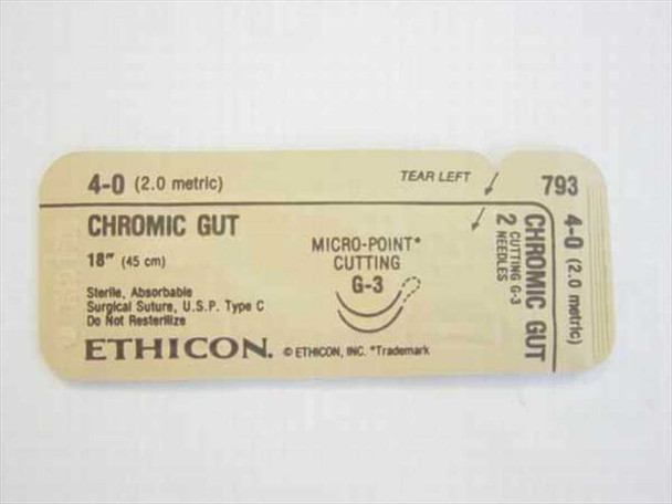 """Ethicon 793  Suture, Absorbable 4-0 (2.0 metric) 18"""" (45 cm)"""