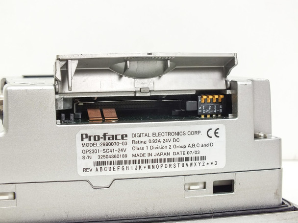Pro-face 2980070-03 GP2301-SC41-24V 0.92A 24VDC Interface Display