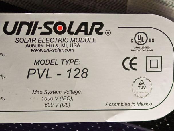 Uni-Solar PVL-128 128 Watt 24 Volt Brand New Flexible Amorphous Solar Panel MC3