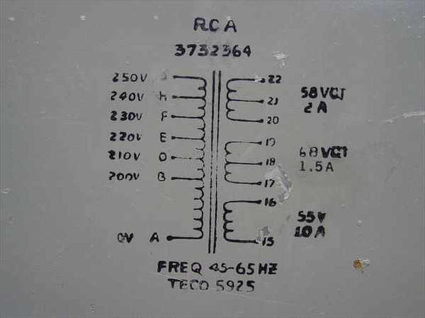RCA MI-560772 Raw DC Power Supply 200-250Volt to 55-68 Volt