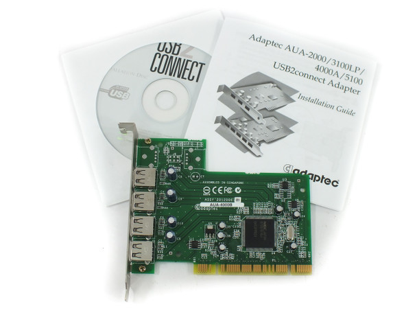 Adaptec AUA-4000B 4-Port USB PCI Expansion Card 1.1 / 2.0 + Driver CD - Win98~XP