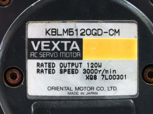 Oriental Motor VextaAC Servo Motor 3000 RPM with 5GD50K Gear Head KBLM5120GD-CM