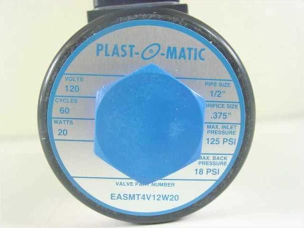 "NEW PLAST-O-MATIC 1//2/"" DIRECT ACTING PVC SOLENOID VALVE EASMT4V12W20-PV-120"