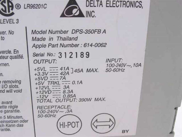 Apple 614-0062 390W Power Supply - DPS-350FB A for 8600 / 9600 AS-IS