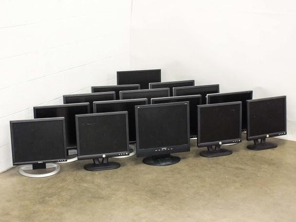 Lot of 15 Various Make and Model Computer LCD Monitors