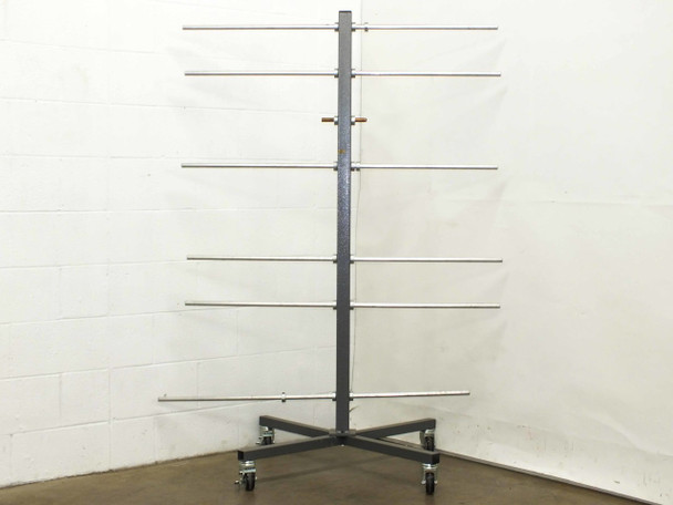 """Generic Industrial Metal Cart on Wheels with assorted 3/4"""" Aluminum Storage Rods"""