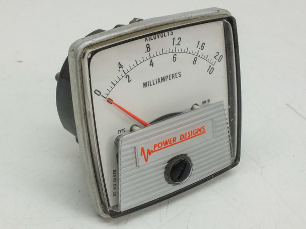 General Electric DW-91 Milliampers Kilovolts Meter 0-10mA / 0-2.0 Power Designs