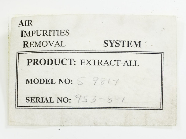 Extract-All S981-1 Bench-Top Fume Extractor -Air Impurities Removal - No Filter