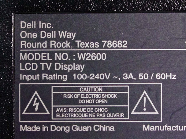 """Dell W2600 26"""" LCD Television - Cracked Screen - As-Is / For Parts"""