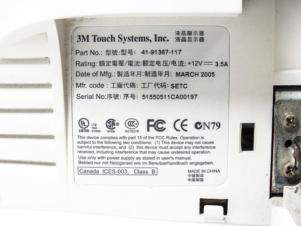 "3M Touch Systems 41-91367-117 17"" Touchscreen DVI USB Beige -No Power Supply"