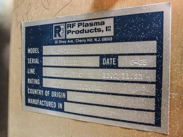 RF Plasma Products HFS-2000D Plasma Generator 2kW @ 13.56 MHz
