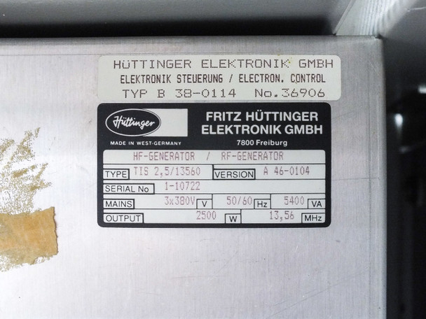 Balzers RFS 302 RF Power Supply 2.5kW @ 13.56 MHz with Enclosure