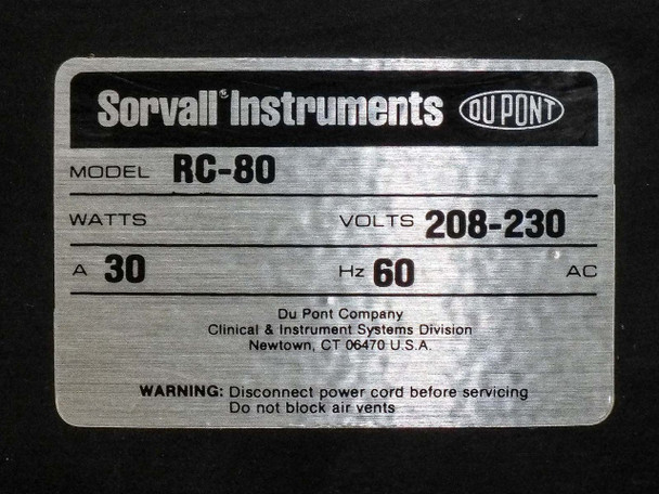 Sorvall RC70 Refrigerated Ultra-Speed Centrifuge Dupont RC80 No Rotor - AS-IS