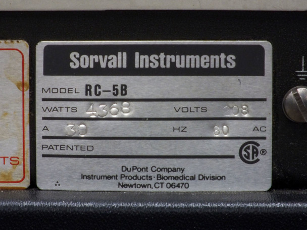 Sorvall RC-5B Superspeed Centrifuge NO ROTOR For PARTS - As Is