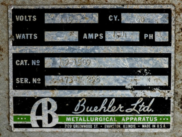 """Buehler 49-1509 8"""" Variable Speed Polisher - Metallurgical Apparatus - As Is"""