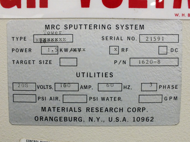 Material Research Corporation MRC603-III MRC 3 Target Side Sputtering Chamber