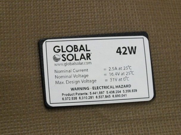 Global Solar 42 Watt 12V Foldable CIGS Military Grade Panel w/ETFE Desert Camo