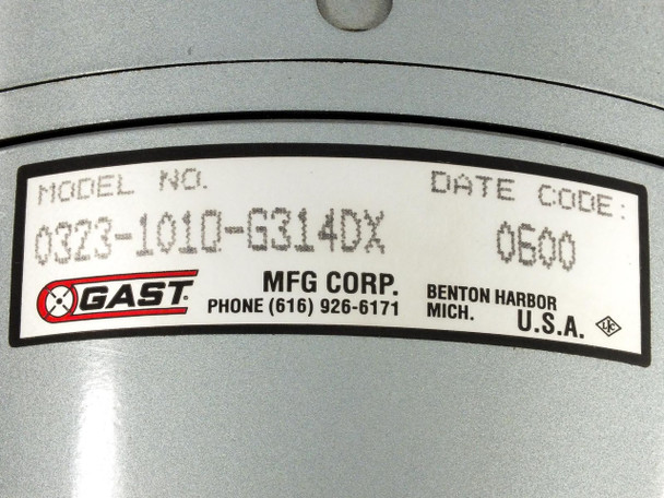 Gast 0323-1010-G314DX Oilless Vacuum Pump 230 Volt AC 2.4 Amp w/ 1/4 HP Motor