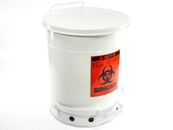 Justrite 05930 10 Gallon Biohazard Waste Can With Foot Operated Cover