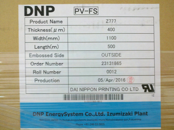 DNP Z777 Solar Panel PV-FS Encapsulant THICK: 400µm WIDE: 1100mm LENGTH: 500m