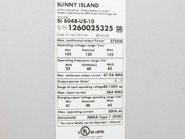 SMA SI 6048-US-10 Sunny Island 5750W Off-Grid Solar Battery Charge Controller
