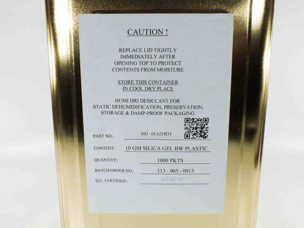 Humi Dri HD-01AZ18J14 10g Silica Gel Packets - Canister of 1000
