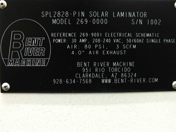 Bent River 269-000 Solar Panel Laminator SPL2828-PIN