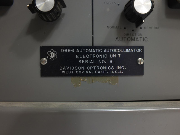 Davidson Optronics 696 Two Axis Automatic Autocollimator with Electronic Unit