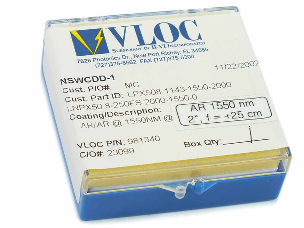 "VLOC LPX508 2"" 1550 nm  Fused Silica Plano-Convex Lense AR Coating - New In Box"