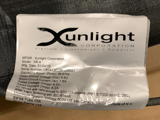 Xunlight XRD4-33 33 WATT Flexible Amorphous Solar Panel for Battery Charging