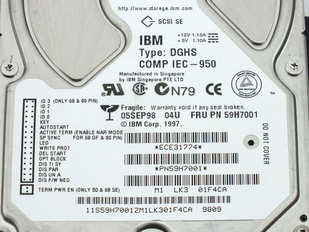 IBM 59H7001 4GB SCSI Hard Drive Type DGHS - As Is