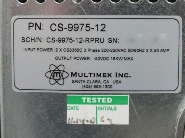 Multimek CS-9975-12 16KW 50 Volt DC Power Supply 7U Input 200-250VAC 3 Phase