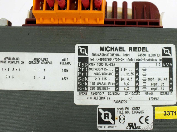 Michael Riedel RSTN 1000 UL-CSA 1KVA 1-Phase Transformer 380-480V to 115-230V