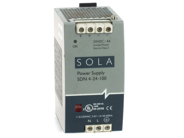 Sola SDN 4-24-100 DIN Rail Power Supply 115/230VAC 24VDC 4A