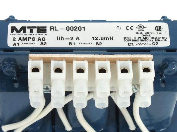 MTE RL-00201 RL Series Line Load Reactor 3 Phase 12mH 2A 600V Max